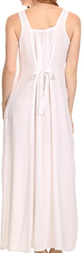 Sakkas Stella Lange Tank Top Einstellbare Kaftan-Korsett-Kleid mit Stickerei Weiß