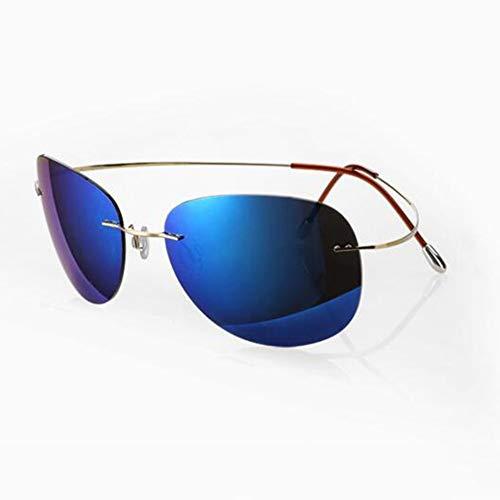 YDS SHOP Ultraleichte Unisex-Sonnenbrille aus reinem Titan, polarisierte Fahrbrille / 100% antiblaue Strahlung/No Border Design, geeignet for Reisen oder Arbeiten im Freien (Color : Gold/Blue)