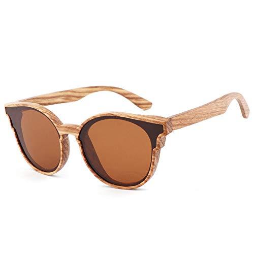 Zbertx Mode Frauen Schmetterling Holz Sonnenbrille Dame Retro Sonnenbrille Polarisierte Gläser Für Männer Uv400,D5