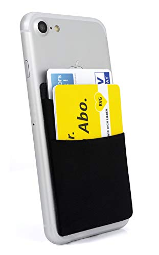 MyGadget Funda Cartera con 2 Bolsillos para Móvil Smartphone - Adhesiva Universal - Suave Estuche para Tarjetas de Crédito Bloqueo RFID - NegroPORTA TARJETAS - Reemplaza su billetera, siendo la adición ideal a cualquier teléfono.MULTIUSOS - Puede ub...