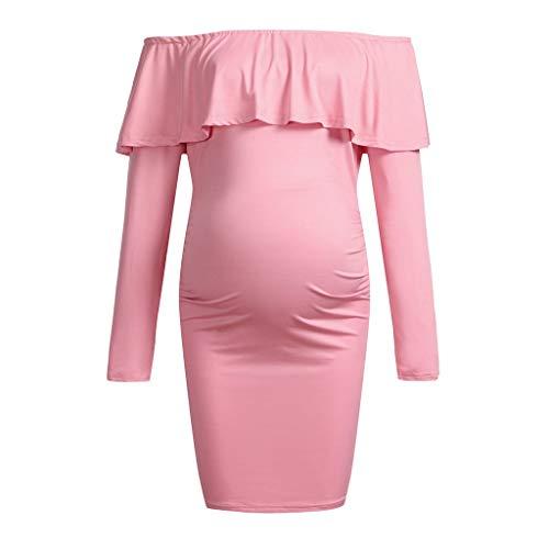 Mutterschaft Schwangerschaft Frauen Langarm Solide Geraffte Mutterschaft Kleid Einfarbig Rüschen Kleid Für Schwangere Frauen -