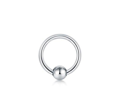 Fectas 316L Chirurgenstahl Silber Klemmkugelring BCR PA Closure Piercing Ring 12G-00G Verschiedene Größenwahl