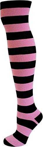 normani Damen Overknees geringelt, blickdicht mit vielen Farbmustern Farbe Schwarz/Rosa