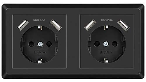 Doppelsteckdose, USB Steckdose Schwarz System 55 Schutzkontakt-Steckdose Passt in Standard 2-fach Unterputzdose, Wandsteckdose Unterputz für Smartphone MP3 Aufladung - Europäische Steckdose