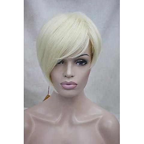 HJL-alta qualità resistenza al calore fibra sintetica asimmetriche scoppi inclinate pallido breve parrucca bionda , 613