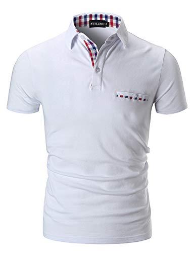 STTLZMC Poloshirt Herren Kurzarm Basic T-Shirt Freizeit Plaid spleißen Polohemd,Weiß,S