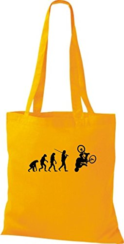 ShirtInStyle Stoffbeutel Jute Evolution Motorrad Fahrrad Biken Stunt Freebike Biker diverse Farbe hellgelb