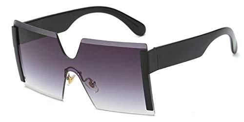 Sonnenbrillen. Frauen Übergroße Brille Halb Randlose Quadratische Sonnenbrille Designer Große Weibliche Sonnenbrille Outdoor Reisen Sommer Staub Uv400 Schwarz Grau