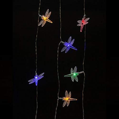 LED-Lichterkette Multicolor mit Schmetterling, Libelle oder Vogel - 40 LED´s inkl. Timer oder Dauerleuchten (Libelle) (Lichterkette Multi-color)