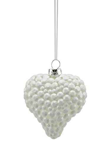 Boule en verre cœur blanc cm.8