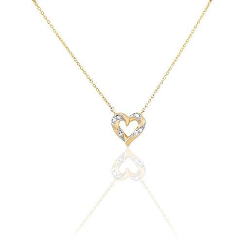 HISTOIRE D'OR - Collier Or Jaune C?ur et Diamants 42cm - Femme - Or jaune 375/1000