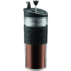 Bodum Insulated Plastic Travel French Press Coffee and Tea Mug, 0.45-Liter, 15-Ounce, Black