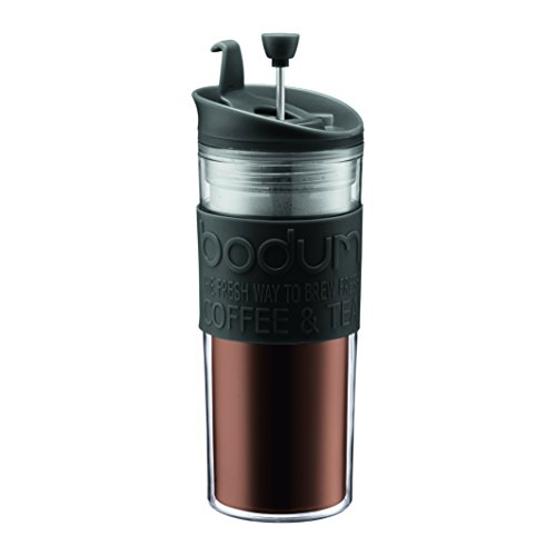 Bodum Insulated Plastic Travel French Press Coffee and Tea Mug, 0.45-Litre, 440ml, Black 7 Cup French Press