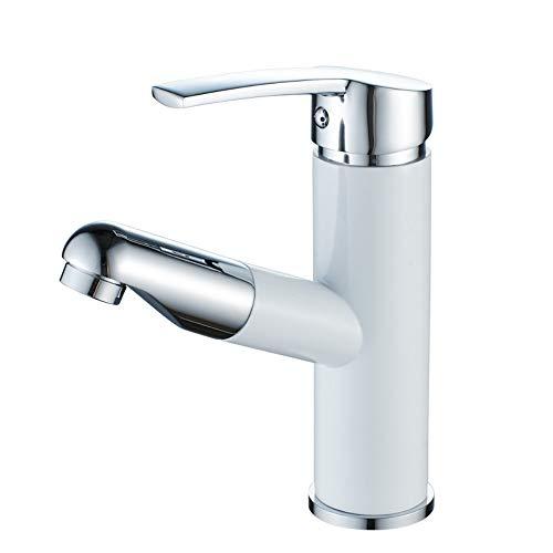 HUIJIN1 Ausziehen Chrom-Badezimmer-Waschbecken Wasserhahn, Blei frei Soild Messing heiß und kaltes Becken Mixer Hahn mit Abzug nach unten Sprayer, Chrom poliert, ohne Pop-up-Abfluss Abfluss (Waschbecken Sprayer Delta)