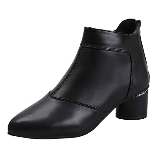 Sanahy Damen Chunky Heels Stiefeletten mit Reißverschluss Hinten und Blockabsatz Ankle Boots Dicker Absatz Herbst Winter Schuhe -
