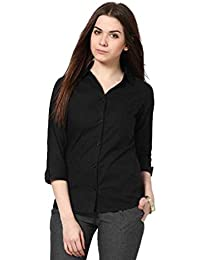 FUNDAY FASHION Women Solid Casual Black Shirt