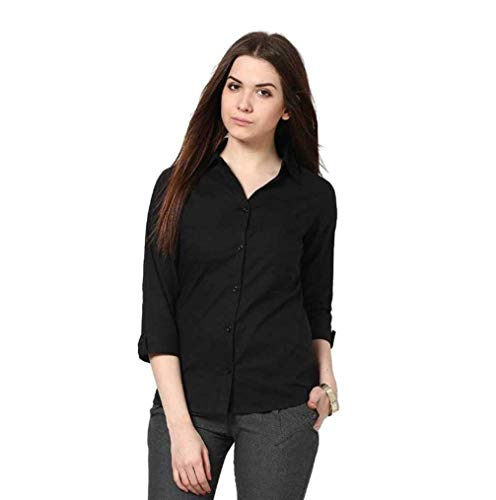 FUNDAY FASHION Women Formal Black Shirt (Medium)