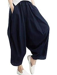 Topgrowth Pantaloni Harem Donna Yoga Festival Baggy Boho Pantalone Retro  Sciolto Biancheria di Cotone Pantaloni Zingari 38cceefd14e
