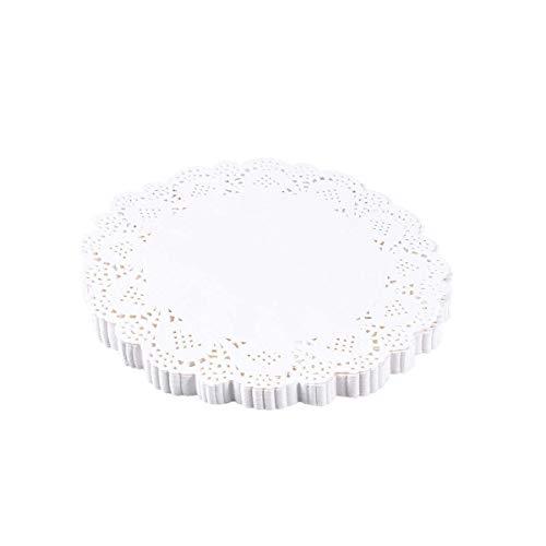 Runde Spitzendeckchen Papierdeckchen Tischsets für Kuchen Desserts Gebackene Leckerei Display 6,5 Zoll ()