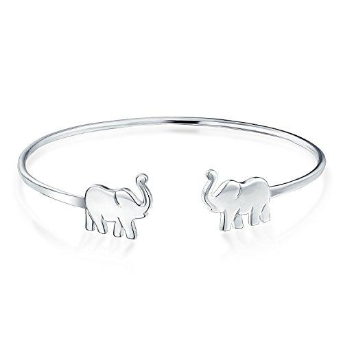Bling Jewelry 925 plata Lucky Elefante Pulsera de Puño abierto ajustable