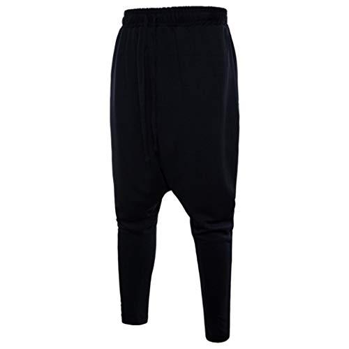 UFACE Fashion Herren Casual Harlan Solid Color Sporthosen Baumwolle Kordelzug Elastische Taille Lose Sporthosen(Schwarz,S)