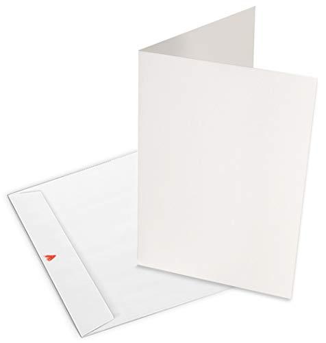 25 weiße Blanko Klappkarten mit Umschlag | A6 Einladungskarten zum Selbstgestalten & Bedrucken | Ideal als Glückwunschkarten & Hochzeitskarten | individuell bedruckbar | 100{6029a846831bdc4a23d54a452a38ac019fa6b30fe736dca57754975a5ad2dc3d} Recyclingpapier