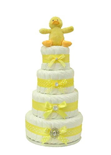 Signature extra large Luxury Four Tier unisex Yellow Nappy cake/Baby Hamper/Baby Shower Gift/New Arrival Gift/Newborn Gift/Baby Girl Gift/Gift for Baby Gifl/Maternity Gift/spedizione veloce