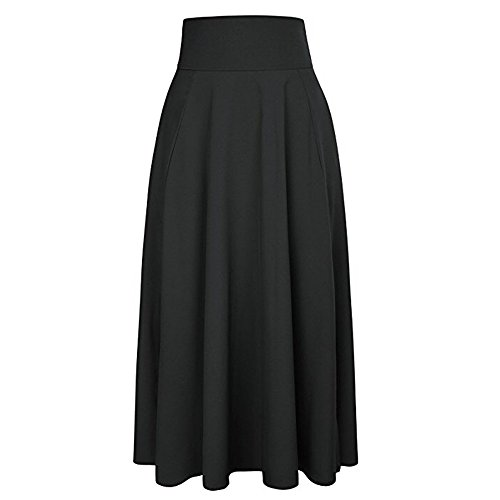 Maxi Skirt Women High Waist Pleated Long Skirt Casual A Line Skirt Dress S-XXL (M, Black)