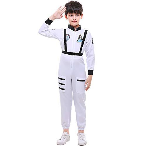 ROCK1ON Astronaut Kleidung Schwarz für Junge Kinder Halloween Karneval Rollenspiel Kostüm Weihnachten Tanzparty Cosplay Geschenk Geburtstag Include Zubehör Alter 4-12(Weiß),M
