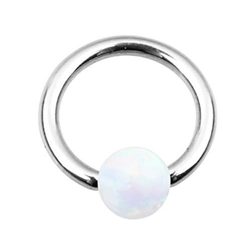 Bishiliin 1 Stück Nasenpiercing Stecker Silber Creole Form mit Opal Körperschmuck Piercing Ring Edelstahl