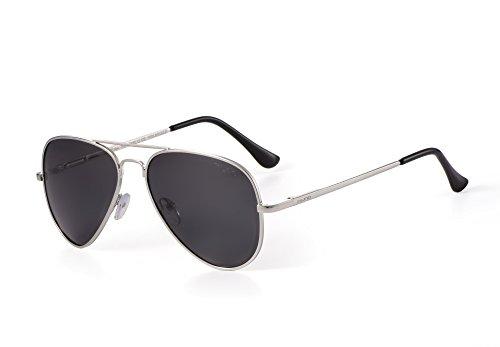 Miuno® Sonnenbrille Polarisiert Polarized Herren Damen Geschenkbox & Brillentuch Aviator Federscharnier 3025 Silbergestell (Schwarz)