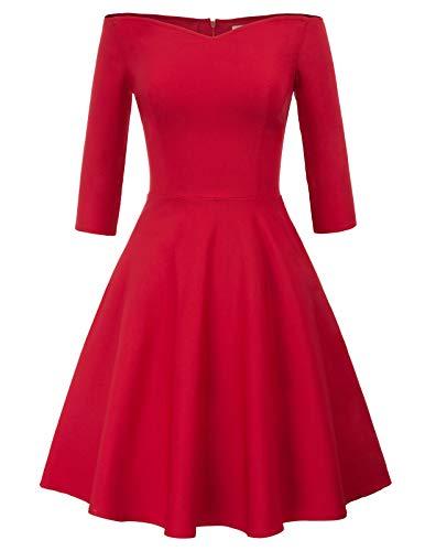 GRACE KARIN Robe Femme Épaule Denudée Taille Haute A-Ligne Rouge M CL823-2