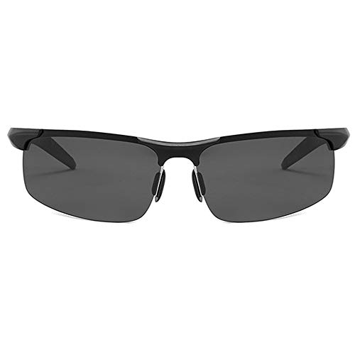 BlueAurora Herren polarisierte Sonnenbrille, Aluminiumlegierung Brillen für den Sport,Black
