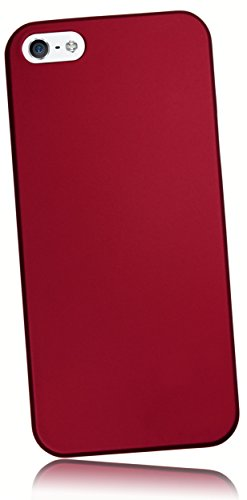 mumbi Schutzhülle iPhone SE 5 5S Hülle (harte Rückseite) matt rot (Hardcover Cover Case)