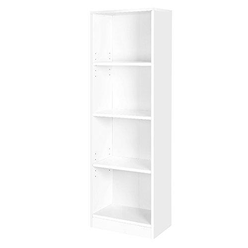 VASAGLE Biblioth/èque Etag/ère de bureau pour salle de s/éjour L x l x H Blanc LBC104W chambre ou bureau 40 x 24 x 121,5