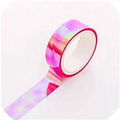 6Pcs/Lot Set Glitter Foil Pastel Washi Tape Color Gilded Rainbow Adhesive Holographic Decoration Maskingtape,6 Pcs Pink