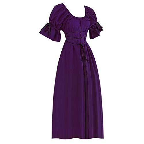 Sonnena 2019 Halloween Kleid Retro Kleid Elegante Kleider Lange Damen Mittelalterliche Kleid mit Trompetenärmel Cosplay Kostüm Abendkleider Partykleid (Sein Und Ihrs Halloween-kostüme 2019)