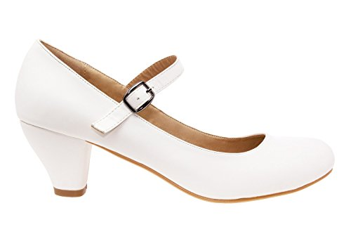 Andres Machado.AM538. Escarpins Style Mary Jane soft.Grandes Pointures 42/45.Pour Femmes Blanc.N