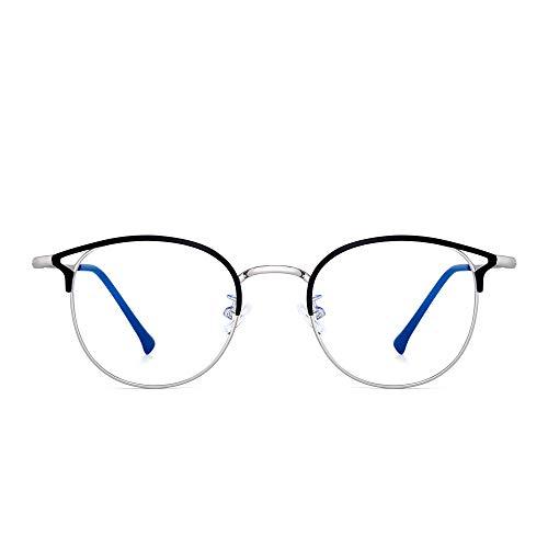 Designer Blaues Licht blockiert Computer Brillen Metall Runden Katzenauge Glasses für Damen Reduzieren Auge Belastung Schwarzes Silber