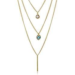 Remi Bijou–vistosas Tres Capas Statement Collar en oro con tres colgante: Ojo Evil Eye Nazar boncuk brillantes