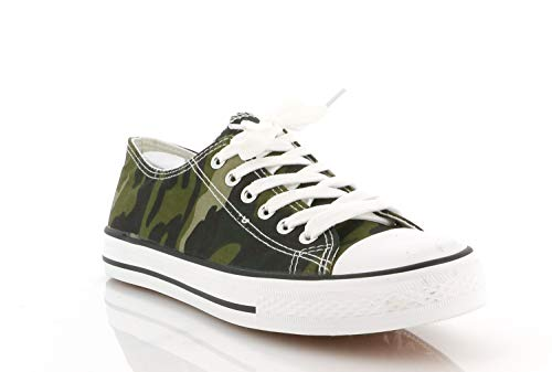 Chaussure De Sport Mixed Adult - Basket Plate - Sneakers Basse Lacets, Vert, 36 EU