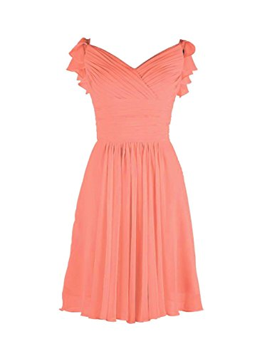 YiYaDawn Kurzes Brautjungfernkleid Abendkleid Ballkleid für Damen Koralle