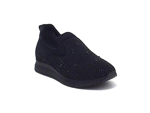 Liu Jo scarpe bambina, articolo 021669, sneakers slip on in camoscio con strass, colore nero