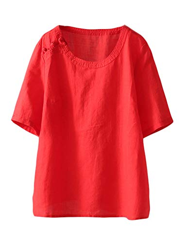 Mallimoda Damen Leinen Tunika Tops Sommer Kurzarm T-Shirt Große Größen Bluse Oberteile Rot M - Rote Damen Henley T-shirt
