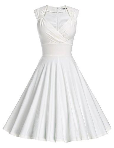 MUXXN Damen Retro 1950er V-Ausschnitt Brautjungfer Party Swing Kleid(L, White)