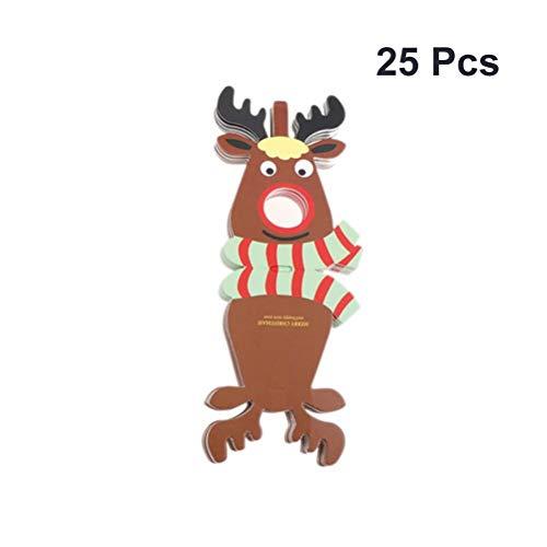 BESTOYARD 25 stücke DIY Weihnachten Handwerk Lutscher Papierkarte mit Rentierform Kinder Handgemachte DIY für Xmas Party Zubehör Gefälligkeiten Mädchen Jungen (Grün)