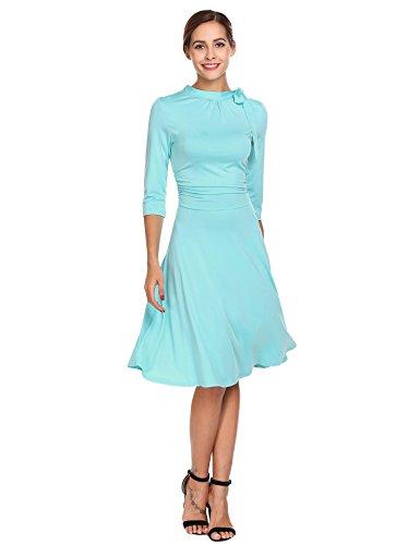 Chigant Damen Kleid Slim Fit Lace Partykleider Hohe Taille Rundhals 3/4 Ärmel A-Line Shirtkleid Casual Herbstkleid Skaterkleid (Schlitz Elastische Rock Taille, Seite)