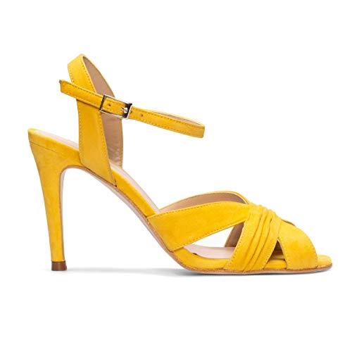 GENNIA - FERIDE - Sandalias Estilosas Comodas Amarillas Mostaza de Vestir para Mujer en Piel - Tacón...