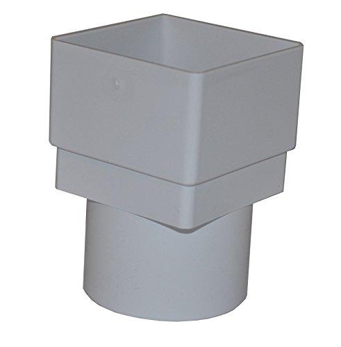 Adapter Dachrinne (Quadratisch zu rund Fallrohr Adapter–Weiß–2Stück)