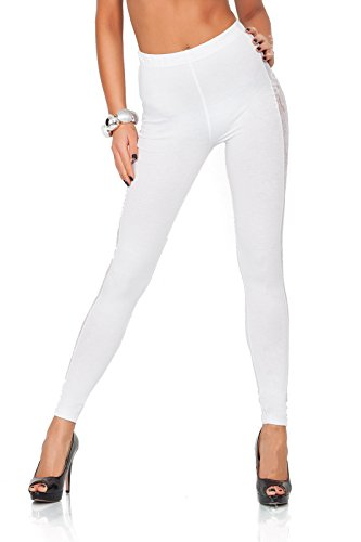 FUTURO FASHION® - Leggings mit Streifen aus Spitze - lang - elegant - Baumwolle - LPL - Weiß - 40